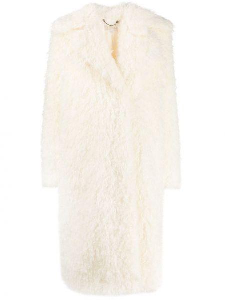 Акриловое белое длинное пальто с капюшоном Michael Michael Kors