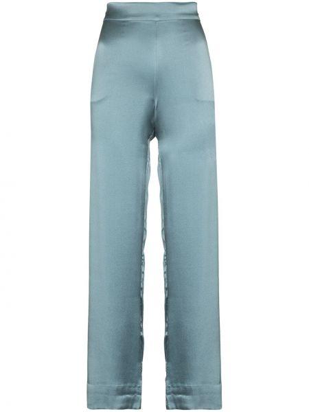 Шелковые синие брюки с поясом Asceno