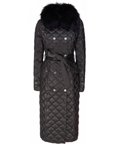 Стеганое пальто с поясом с енотом Naumi