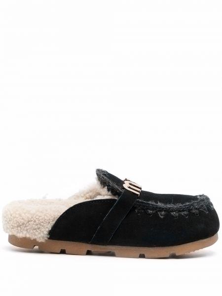 Черные туфли с мехом Mou
