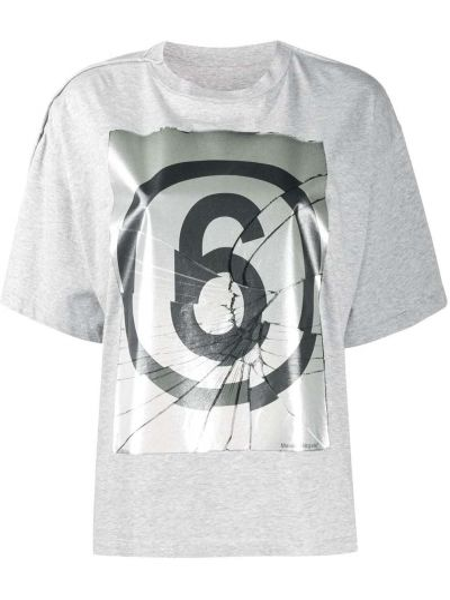Bawełna koszula z krótkim rękawem okrągły dekolt krótkie rękawy okrągły Mm6 Maison Margiela