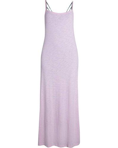 Хлопковое с ремешком розовое платье макси Pitusa