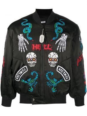 Czarna długa kurtka z nylonu z długimi rękawami Ktz
