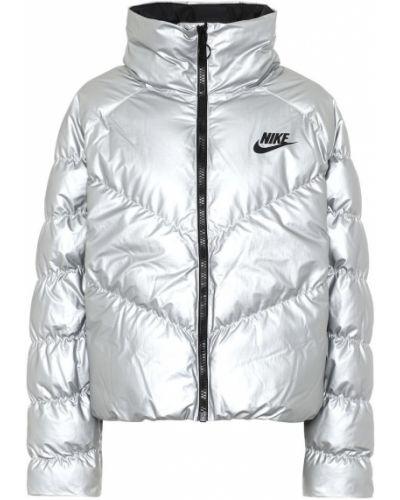Куртка нейлоновая серебряная Nike