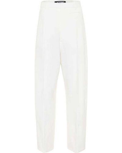 Biały prosto wełniany spodnie Jacquemus