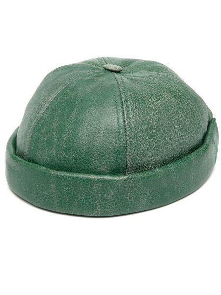 Кожаная с ремешком зеленая кепка Junya Watanabe