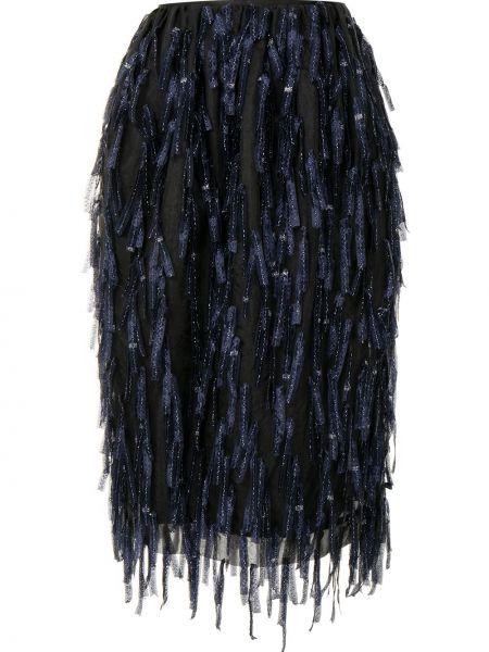 Z wysokim stanem ciemnoniebieski jedwab spódnica frędzlami Dries Van Noten Pre-owned