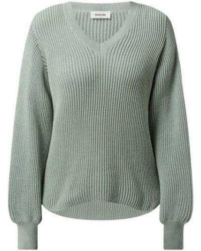 Sweter z dekoltem w serek - zielony Modström