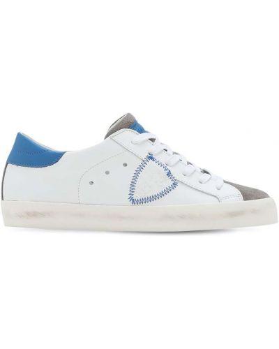 Skórzany biały sneakersy z łatami na sznurowadłach Philippe Model