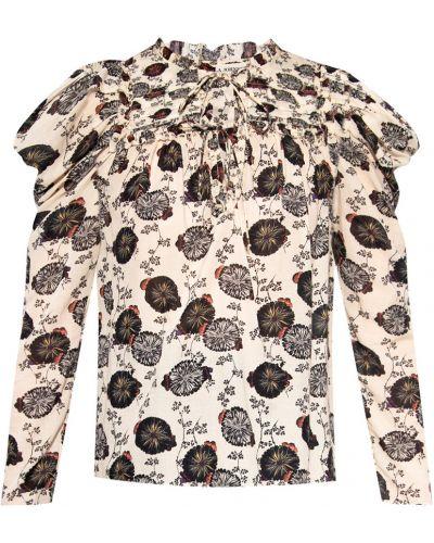 Beżowa T-shirt z nadrukiem z printem Ulla Johnson