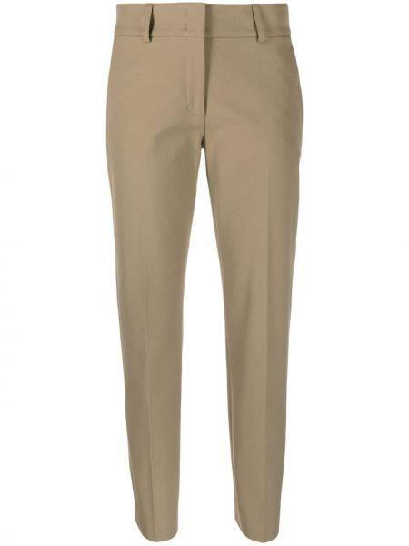 Хлопковые зеленые брюки узкого кроя Piazza Sempione