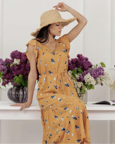 Желтое платье из штапеля Azuri