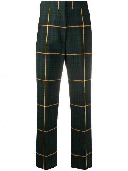 Хлопковые прямые зеленые брюки с потайной застежкой Hilfiger Collection