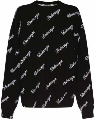Sweter wełniany - czarny Balenciaga