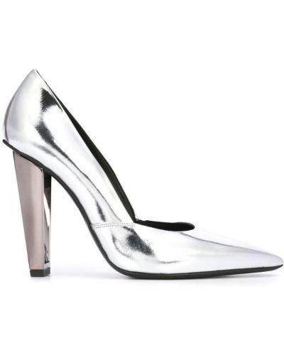 Серебряные туфли-лодочки на каблуке Poiret