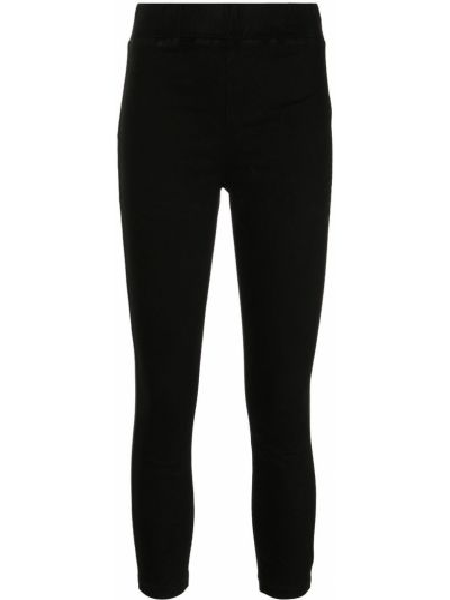 С завышенной талией хлопковые черные укороченные брюки L'agence