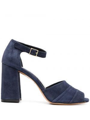 Кожаные синие открытые босоножки на каблуке Tila March