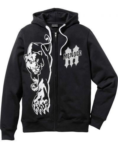 Куртка с капюшоном черная зауженный Bonprix