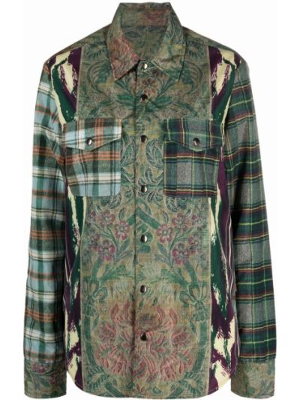 Зеленая рубашка из полиэстера Pierre-louis Mascia
