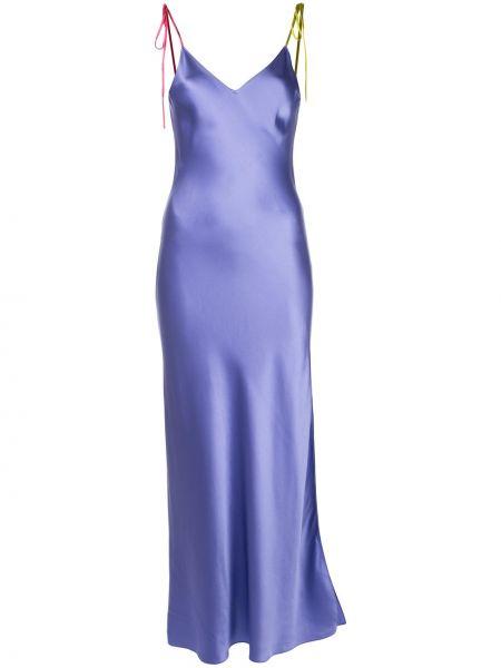 Niebieska sukienka z jedwabiu z dekoltem w serek Dannijo