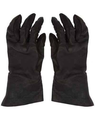 Czarny skórzany rękawiczki z mankietami z prawdziwej skóry wytłoczony Boris Bidjan Saberi