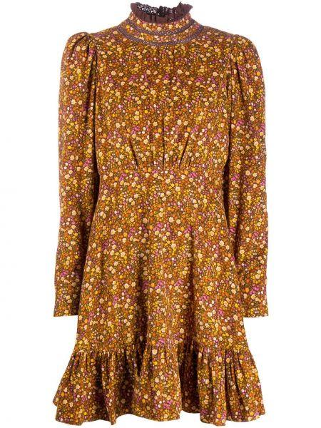 Brązowa sukienka długa rozkloszowana w kwiaty Bytimo