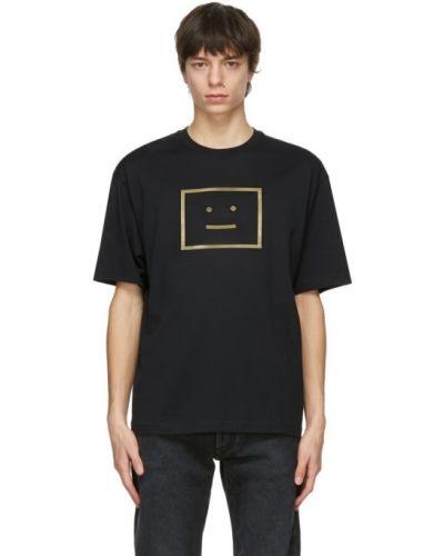 Трикотажная черная футболка с воротником Acne Studios