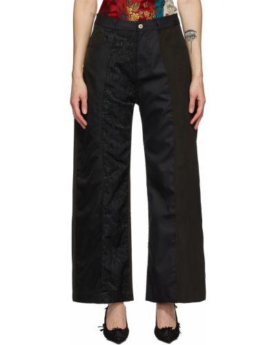 Satynowe spodnie - czarne Marques Almeida