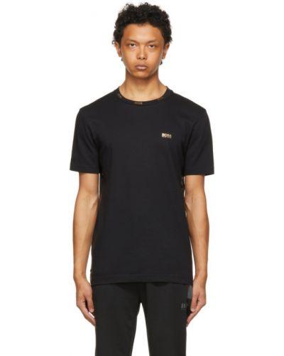 Трикотажная черная футболка с воротником Boss