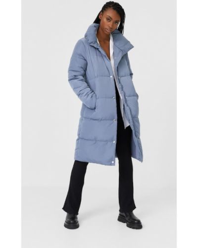Стеганое синее стеганое пальто Stradivarius