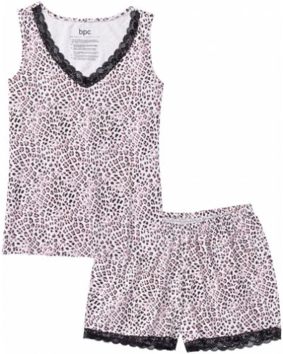 Пижама с шортами с принтом черная Bonprix