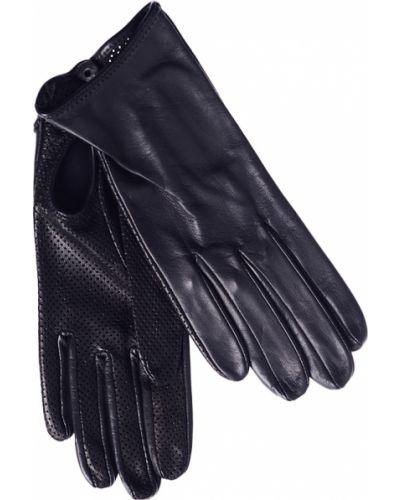 Кожаные перчатки с перфорацией черные Parola