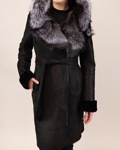 Черная дубленка из овчины с капюшоном каляев