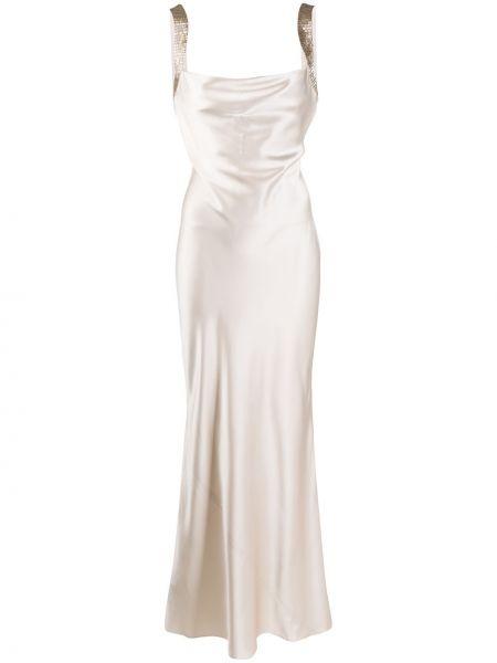 Приталенное шелковое вечернее платье с пайетками с воротником Amanda Wakeley