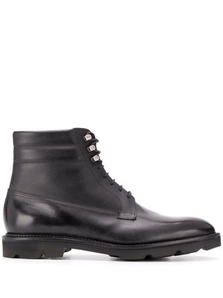 Кожаные черные кожаные ботинки на шнуровке на плоской подошве John Lobb