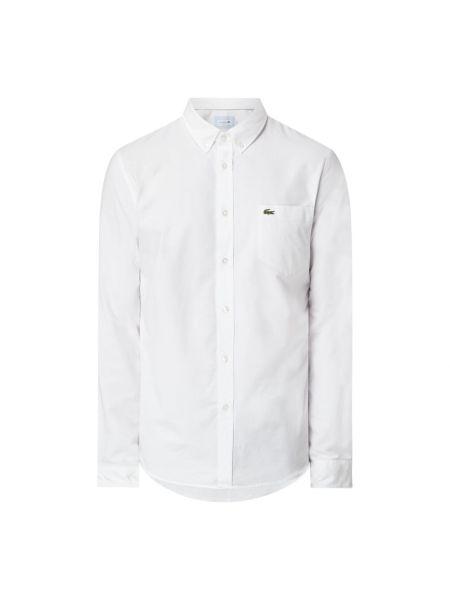 Biały bawełna bawełna z rękawami koszula oxford Lacoste