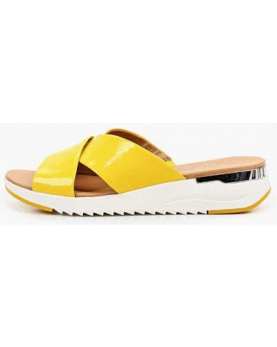 Желтые кожаные сабо Caprice