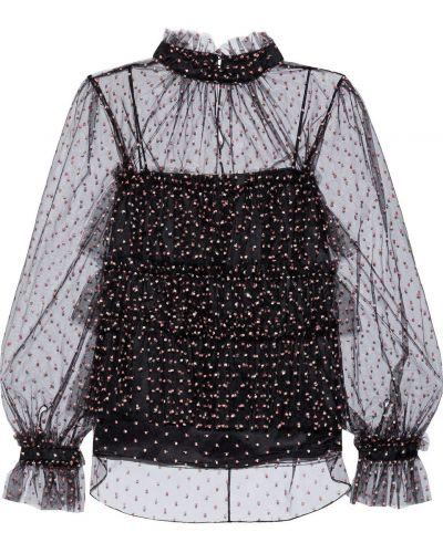 Блузка из фатина - черная Adam Lippes