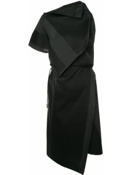 Хлопковое черное платье с запахом 132 5. Issey Miyake