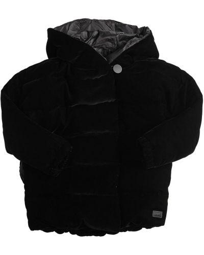 Бархатная черная куртка с карманами Emporio Armani