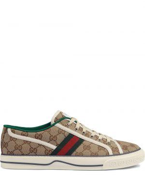 Теннисные парусиновые кеды на шнуровке Gucci
