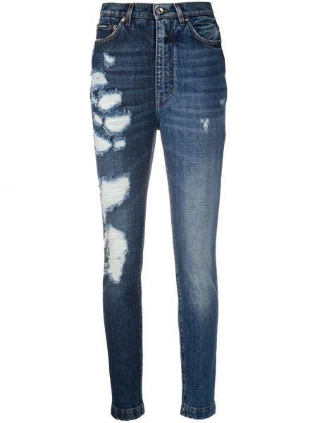 Niebieski bawełna zawężony jeansy na wysokości z kieszeniami Dolce And Gabbana