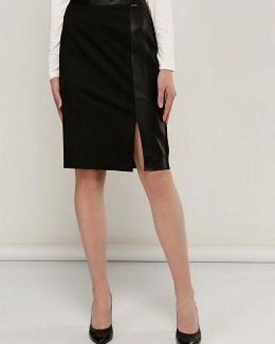 Прямая черная юбка карандаш из вискозы Electrastyle