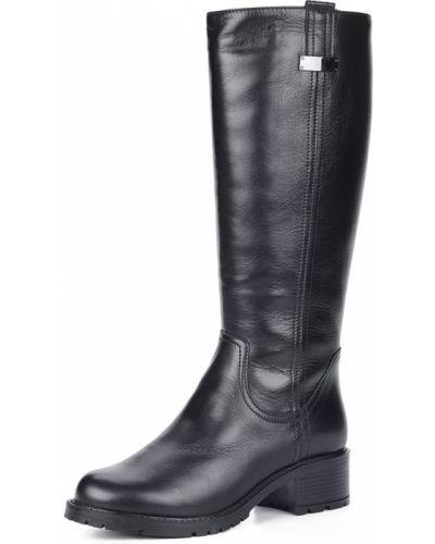 Черные сапоги на каблуке из натуральной кожи Respect