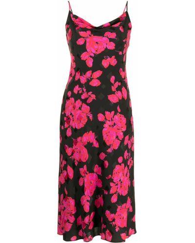 Прямое черное платье в цветочный принт Milly