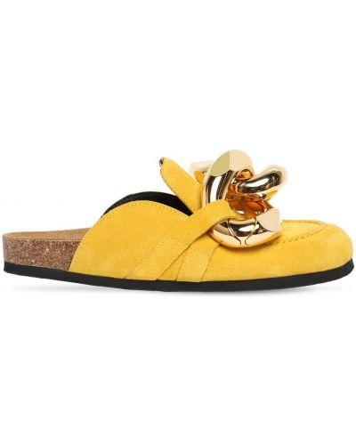 Желтые замшевые мюли на каблуке Jw Anderson