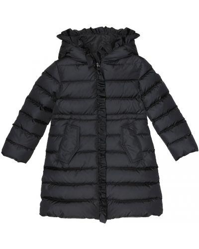Puchaty zimowy płaszcz z kapturem przycięte Moncler Enfant