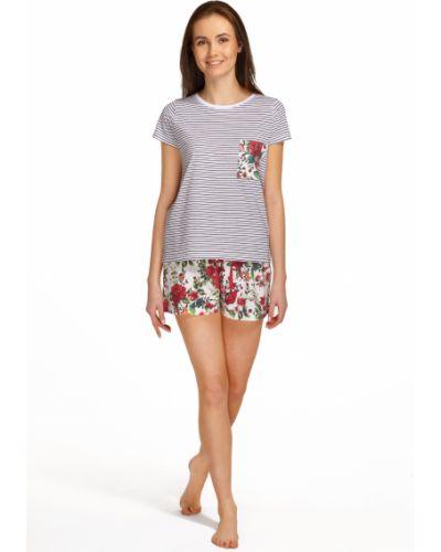 Czerwona piżama bawełniana krótki rękaw Envie