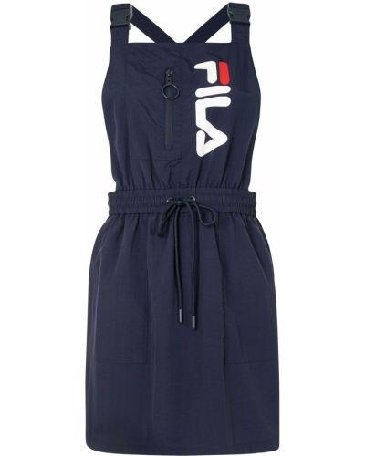Прямое синее платье с вырезом Fila