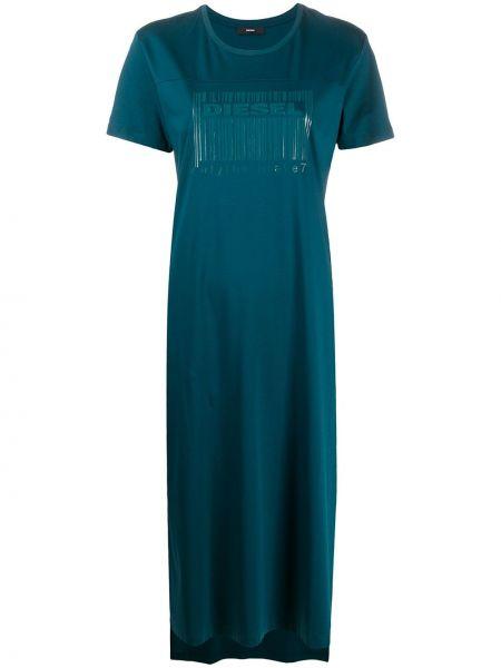 С рукавами зеленое платье мини с вырезом Diesel